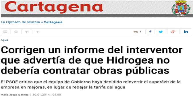 El Psoe de Cartagena y el Superávit de Hidrogea… ¿Otro Secreto Pasmoso?