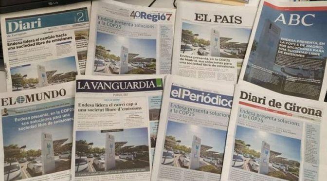 Periodismo mercenario: Endesa compra las portadas de 'El País', 'El Mundo' y 'ABC' para blanquear su imagen
