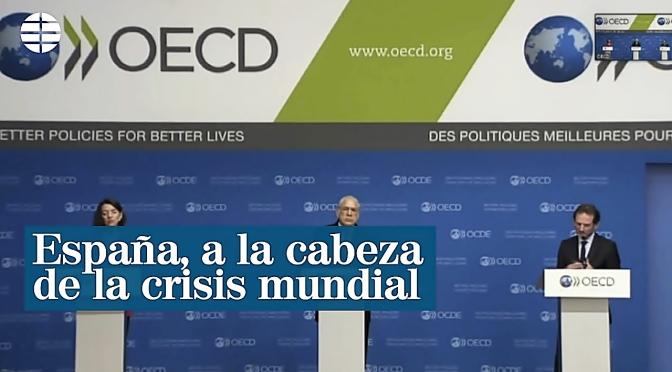 La OCDE sitúa a España a la cabeza en 2020 del desplome económico mundial con una caída del 14,4% tras el virus