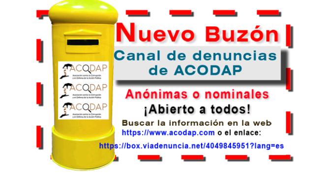 ACODAP estrena su buzón público para denunciar la corrupción