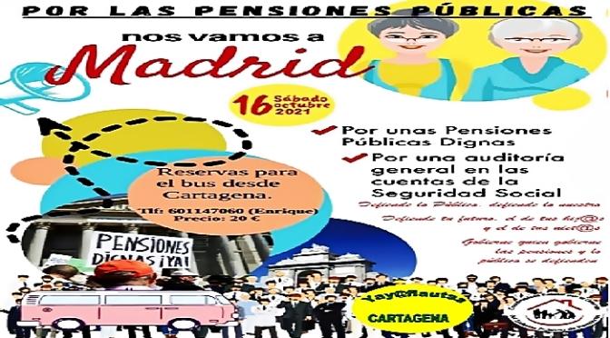 Los 'Yayoflautas' de Cartagena estarán en Madrid manifestándose por las pensiones
